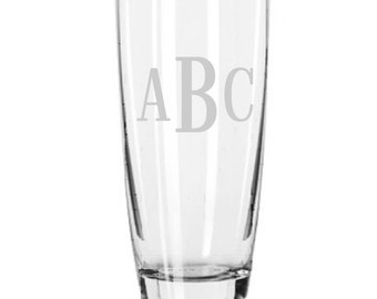 2 Personalized Cooler Drink or Beer Glasses Roman Monogram Custom Engraved.