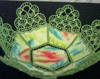 Lace Fabric Bowl Holds Candles, Potpourri, or Other Decorative Treasures