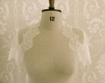 French lace and silk tulle Bridal shrug
