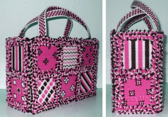 Plastic Canvas Rag Quilt Tote by Lissa Mitchell Instant Download
