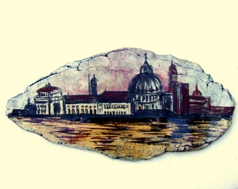 Dusk on the Grand Canal - Ceramic Painting of Venice