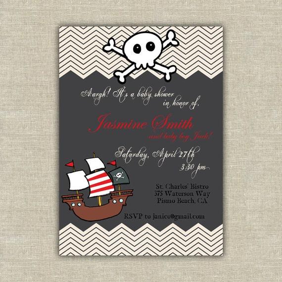 printable pirate baby shower birthday party invitation kids children