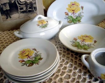 Child's China Miniature Tea Set Yellow Roses Vintage at Quilted Nest