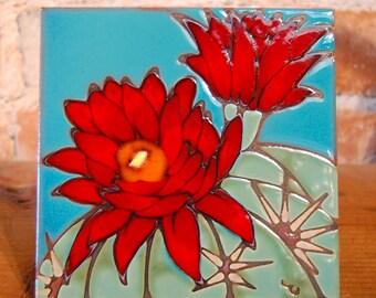 """6""""x6"""" Hand Glazed Decorative Tile Coaster Trivet Hedgehog Cactus Bloom"""