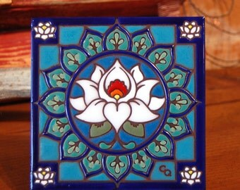 "6""x6"" Hand Glazed Decorative Tile Coaster Trivet Lotus Mandala"