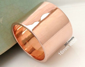 Extra Thick Band 15 -16mm - Rose Gold Plated over 925 Sterling Silver - Polished Finish Simple Flat Tube Wedding Band - Customizable