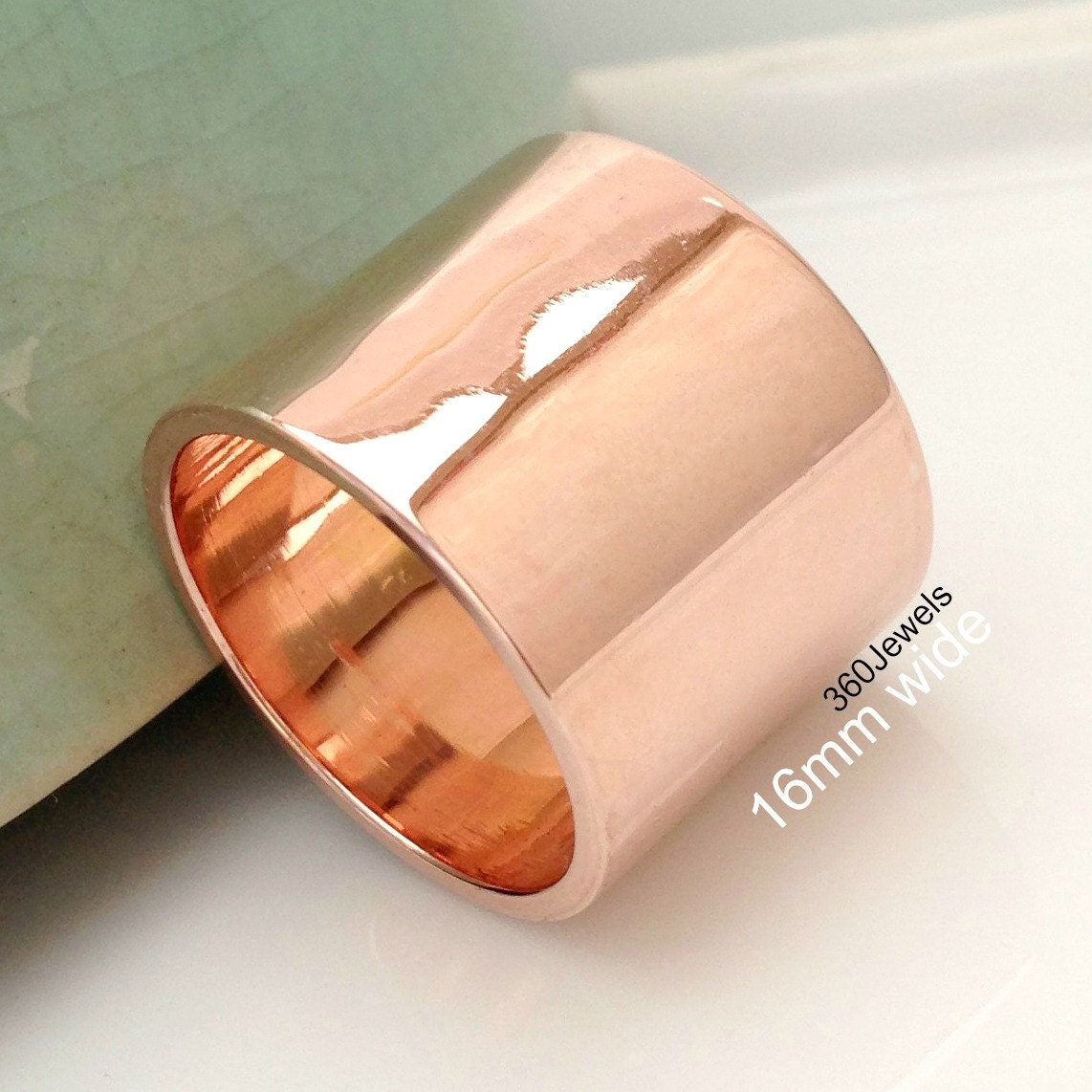Extra Thick Band 15 16mm Rose Gold Plated Over 925 Sterling