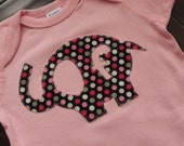 Elephant Onesie with child's Initial boy or girl
