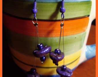 PURPLE DROPS - HaNdMaDe EaRRiNgS WiTh ReaL CoFFee BeAnS
