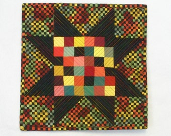Star Art Quilt Quilted Sawtooth Quiltsy Handmade FREE U.S. Shipping