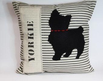Felt Yorkie Silhouette Pillow, Decorative Felt Yorkie Dog Silhouette Pillow, Striped Decorative Felt Yorkie Pillow, Home Decor Gift Dog