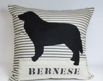 Bernese Mountain Dog Felt Pillow, Decorative Bernese Mountain Dog Felt Silhouette Throw Pillow, Bernese Gift, Home Decor, Cusotm Name