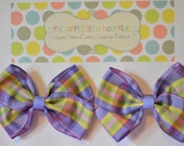 Purple Plaid No Slip Set Of Basic Bows