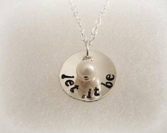 LET IT BE Necklace Domed with Freshwater Pearl