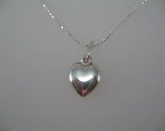 Heart Necklace, Silver Heart Charm, Silver Necklace, Sterling Silver Heart Charm Necklace Simple and Elegant