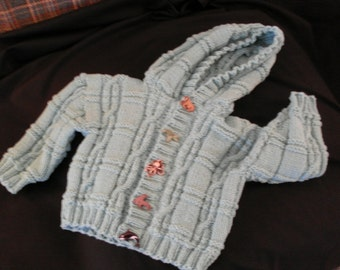 Hand knit baby boy or girl hoodie cardigan