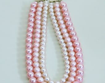 Vintage Pale Pink Ombre Three Strand Pearl Necklace Statement Necklace