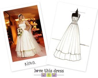 6 x 8 - MINI Custom Wedding Gown Sketch - Love This Dress