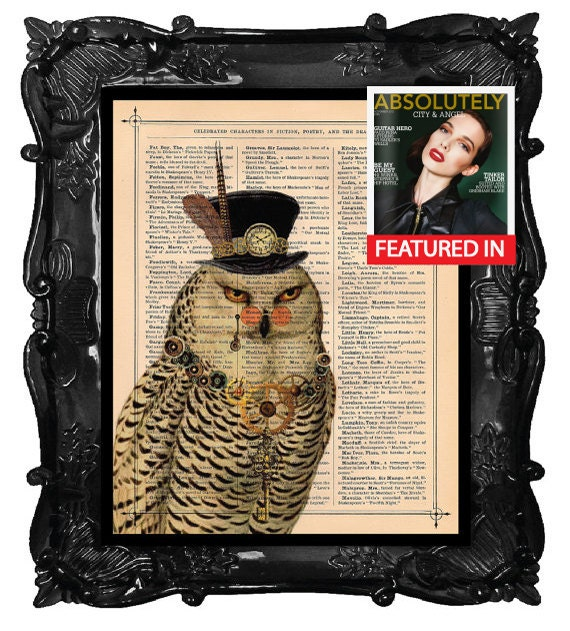Antique Owl Steampunk Owl illustration beautifully upcycled dictionary page book clock art print