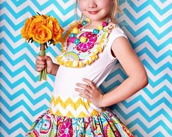 Summer flower chevron twirl skirt and matching bib shirt for babies toddlers girls