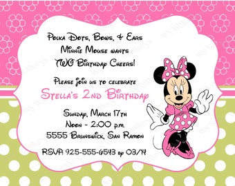 10 Pink & Green Minnie Mouse Invitations with Envelopes.  Free Return Address Labels