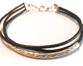 SADIE Midnight Black Layered Leather Cord Bracelet with Faceted Silver Toned Bar. Great for layering. Other colors available.