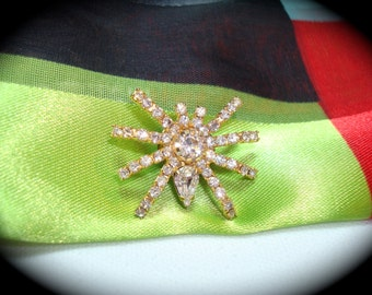 Vintage Gold Tone Fully Loaded Large SPIDER  Pin.