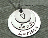 Sterling silver layered pendant hand stamped by Tiny Love Treasures
