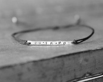 Personalized Date Sterling Silver Stamped Bar Waxed Linen Bracelet Upcycled Recycled Minimalist