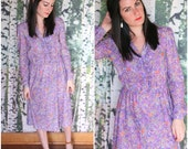 vintage purple floral dress -Wild Flower