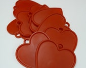 10 Vintage Heart tags Red plastic Candy store gift tags Group lot supplies Valentine's Day