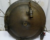 Antique ceiling Light fixture 4 sockets large round Restoration salvage Aged brass 16 inches chandelier