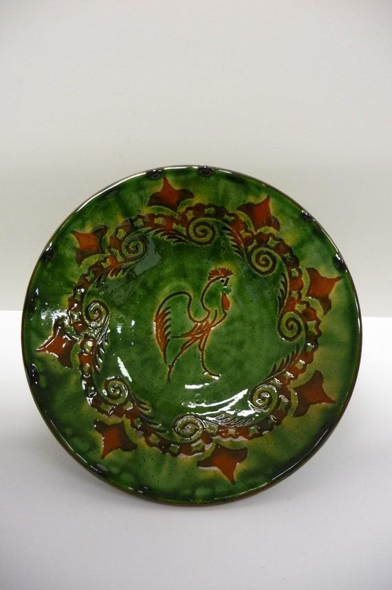Vintage Pottery Bowl Tito Ubeda Rooster Forest Green And Brown