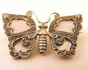 Vintage Butterfly Brooch Sterling Silver Marcasite Mother of Pearl Opal