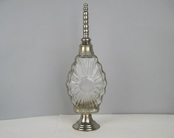 vintage Starburst Cut Crystal and Silver Bezeled Cruet - Elegant Table Server - perfume bottle, essential oil dispenser