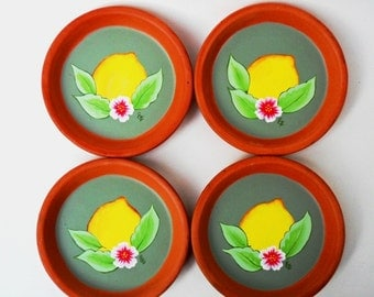 4 Lemon Coasters Terracotta 4""