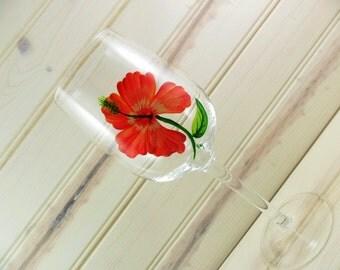 Wine Glass Hibiscus Hand Painted Red Orange
