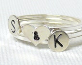 Silver love ring initial ring Initial couple ring Sterling silver ring personalized ring sweet heart ring silver stacking rings