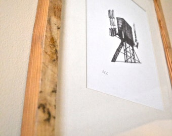 Reclaimed Wood Framed Water Tower Drawing- Free Shipping