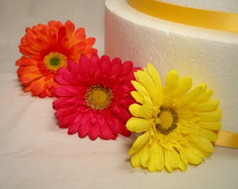 MADE TO ORDER Gerbera Daisy Silk Flower Wedding Cake Layer Accents - Extra Flowers Set of Three (3)