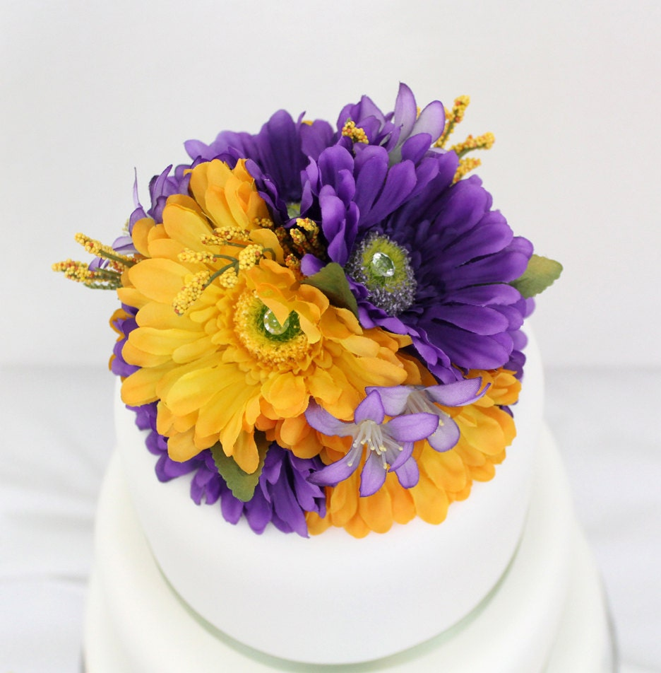 fake flower wedding cake toppers made to order gerbera silk flower wedding cake topper 14117