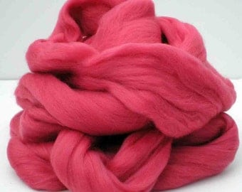 "Ashland Bay Solid Colored Merino for Spinning or Felting ""Coral""  4 oz."