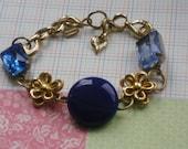 cobalt blue jewels assemblage bracelet,ooak,mixed media,shabby chic jewelry
