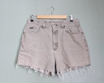 10 Dollar Sale Vintage 90s RIDERS Cut Off Denim Shorts Women L XL - Beige Oatmeal
