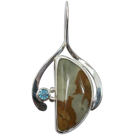 Owyhee Picture Jasper and Blue Topaz Pendant  ppjh2130