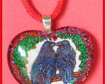 Raven Love Glass Heart - necklace