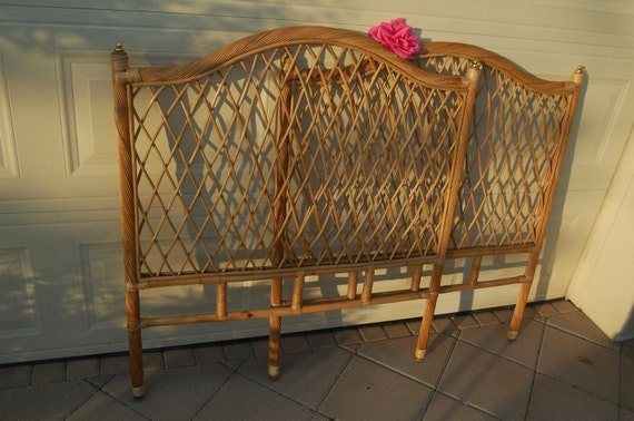 Pair Of Vintage Rattan Wicker Twin Headboards On Sale Cottage