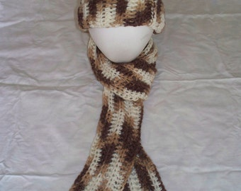 Earth-toned Women's Hat and Scarf Set