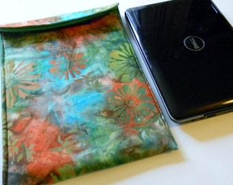 Green and Orange Floral Batik Netbook Sleeve