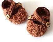 Knitting Pattern (PDF file)  Cross Strap Baby Booties (sizes 0-3/3-6/6-9/9-12 months)